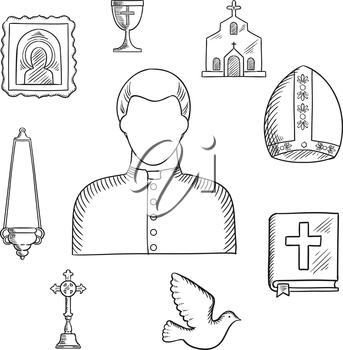 Priest profession with sketches of mature man, surrounded by the Bible, cross, bowl and candelabra, icon and church or temple, mitre and dove bird