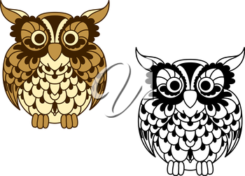 Vintage cartoon and outline colorless owl bird with brown openwork plumage and ornamental feathers around eyes. Great for education mascot, nature symbol or t-shirt print design