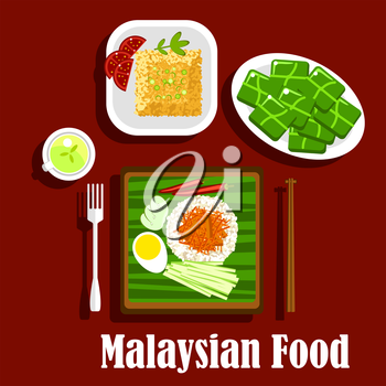 Malaysian cuisine rice dishes with fragrant rice nasi lemak with boiled egg, lamb curry, cucumbers, and chilli, fried rice with tomatoes and green tea with rice desserts, wrapped in banana leaves
