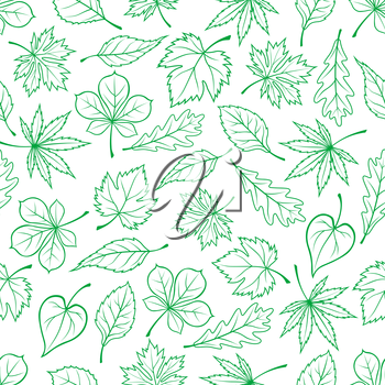 Seamless carved green leaves pattern for ecology theme or retro wallpaper design with sketched foliage of maple and oak, chestnut and basswood trees and grape vines randomly scattered on white backgro