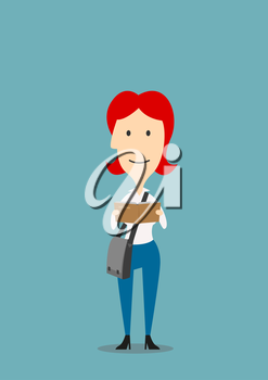 Redhead woman with crossbody bag is reading book. Education, I love reading concept design. Cartoon style