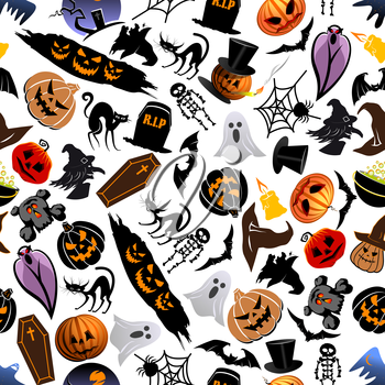 Halloween seamless pattern background with cartoon scary characters and elements. Wallpaper with spooky and horror icons