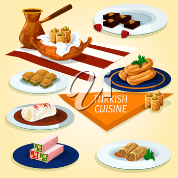 Turkish cuisine delights and dessert pastry icon with coffee, nut and honey nougat, pistachio baklava, butter cookies, fried feta rolls, fried cakes with syrup, chicken pudding, chocolate mosaic cake