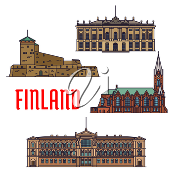 Historic architecture landmarks of Finland. Detailed icons of Suomenlinna, Sveaborg, Kotkan Church, Ateneum Museum, Amalienborg Palace. Finnish showplaces and sightseeing symbols for souvenirs, postca