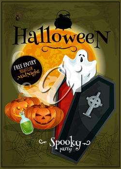 Halloween party club banner with Invitation text. Template design for greeting card, placard, flyer with cartoon pumpkin lantern, coffin, ghosts, cauldron potion on grunge scary background