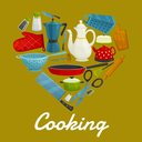 Cooking sign of vector kitchenware flat icons. Heart symbol of isolated kitchen utensils coffee maker, grater, cooking glove, knife, hatchet, scissors, tea pot, sauce and frying pan, spatula, pitcher,