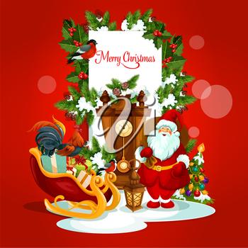 Merry Christmas card of Santa Claus with gift, xmas tree with ball, sleigh full of present box, holly and pine tree branches, lantern, clock, rooster, bullfinch. New Year, winter holidays design