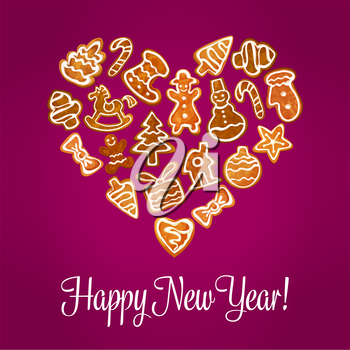 Happy New Year. Isolated heart shape of baked gingerbread cookies. Christmas holidays homemade pastry sweets christmas tree, gift, stocking, mittens, snowman, stars, christmas balls, snowflakes, candi