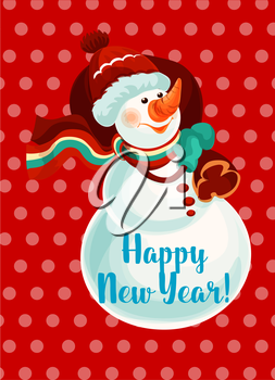 New Year snowman with gift bag greeting card. Snowman in red knitted hat, scarf and gloves holding sack with christmas present. Happy New Year poster design