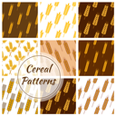 Wheat and rye ears patterns of oat cereal, millet grain, malt grain, spike, barley grain. Vector seamless background for bakery, pastry or grocery shop, beer bar or brewery pub tiles design