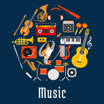 Music round symbol with guitar, drum set, saxophone, microphone, trumpet, violin, horn, synthesizer, record player, lyre, loudspeaker, headphones, flute, maracas, compact cassette and boombox