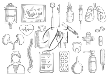 Medical icons. Vector isolated sketch line medicine items of blood counter, ultrasonography, thermometer, surgeon and dentist tools scalpel, dropper, syringe, human lungs, heart, kidney, tooth, doctor