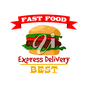 Hamburger icon. Fast food burger emblem of crispy sesame bun, fresh meat cutlet and vegetables lettuce. Vector isolated fast food meal symbol with ribbon for fast food sign or takeaway menu or deliver