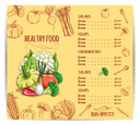 Menu with vegetables and prices for dishes. Cauliflower and pattypan squash onion and red chili or bell pepper, broccoli and tomato, asparagus and beets, corn and radish, pumpkin. Restaurant or vegan
