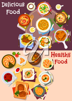 Baked dishes with dessert icon set of chicken and pork baked with potato and olive, beef and vegetable stew, noodle and dumpling soup, meatball, chicken rice, cream cheese and apple pie