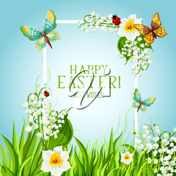 Happy Easter Day greeting card. Sunny spring grass meadow with floral frame, decorated by flowers of lily and narcissus, butterflies and green leaves. Easter Joy spring holiday poster design