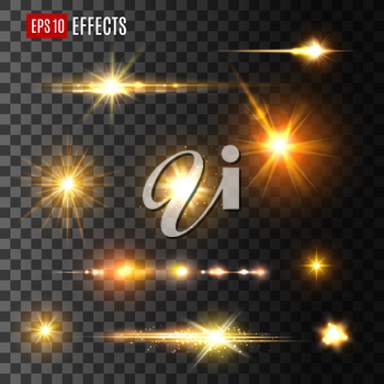 Stars and gold flashes light effects on transparent background. Isolated vector icons of luminous starlight rays or sparkling sun beams and golden glitter shine blurs with glowing particles or space s