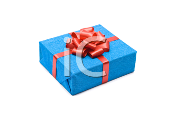Royalty Free Photo of a Gift Box With a Red Bow