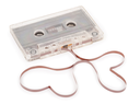 Audio cassette with magnetic tape in shape of hearts
