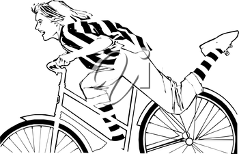 Royalty Free Clipart Image of a Girl on a Bike