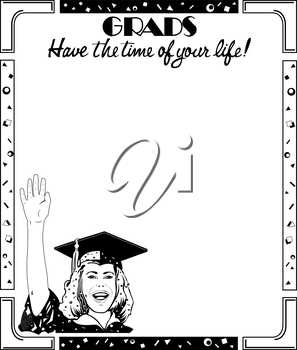 Royalty Free Clipart Image of a Graduation Ad