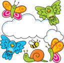 Royalty Free Clipart Image of a Spring Scene With Clouds and Animals