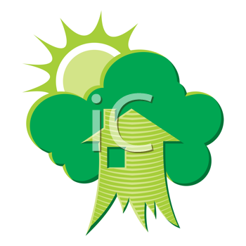 Royalty Free Clipart Image of a House, Greenery and the Sun
