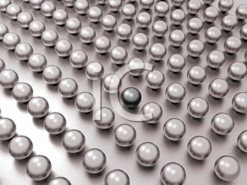 Royalty Free Clipart Image of a Black Pearl Among White Pearls