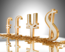 Royalty Free Clipart Image of Golden Currency Signs With Diamonds