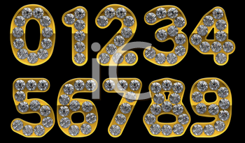 Royalty Free Clipart Image of a Golden Numbers Incrusted With Diamonds