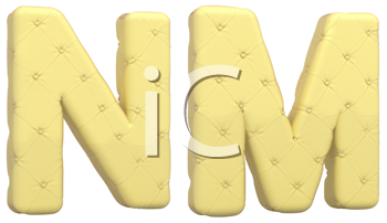Royalty Free Clipart Image of Beige Leather Font of N and M