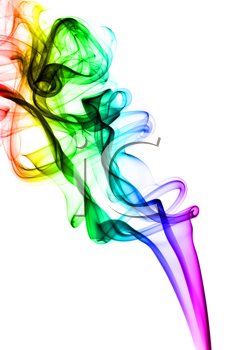 Colorful Fume abstract shapes over the white background