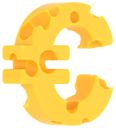 Cheeze font euro currency sign isolated over white background