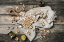 Cookies with seeds  honey  and nuts on wooden table. Rustic style and autumn food photo