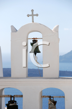 Royalty Free Photo of a Church Bell on Santorini