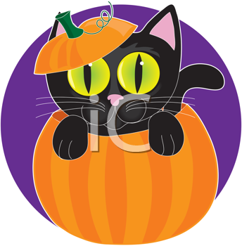 Royalty Free Clipart Image of a Black Cat in a Pumpkin