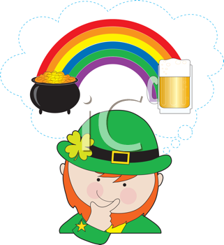 Royalty Free Clipart Image of a Leprechaun Thinking About Beer and the Pot of Gold at the Rainbow