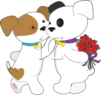 Royalty Free Clipart Image of a Puppy Giving His Sweetheart Flowers