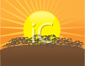Royalty Free Clipart Image of a Setting Sun