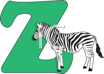 Royalty Free Clipart Image of a Zebra With a Z