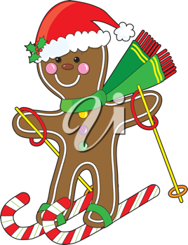 A cute gingerbread man is skiing on candy canes and wearing a Santa hat