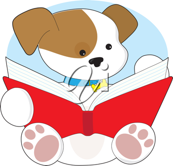 A cute puppy wearing it's blue collar with bone attached, is sitting and reading from a big red book.