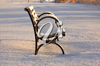 Snow covered park bench at early morning light.