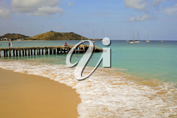 A view of the caribbean beach.