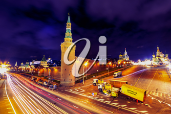 MOSCOW, RUSSIA - The Kremlin is a fortified complex at the heart of Moscow, overlooking the Moskva River to the south, Saint Basil's Cathedral and Red Square to the east, and the Alexander Garden to t