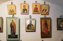 Pskov, Russia- June 6, 2016: Ancient Russian Orthodox Icons displayed in a monastery.