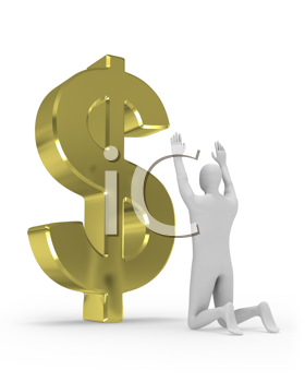Royalty Free Clipart Image of a Man Worshipping a Dollar Sign