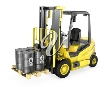 Yellow fork lift lifts four oil barrels, isolated on white background