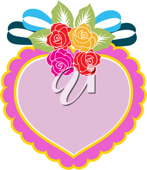 Royalty Free Clipart Image of a Heart With Flowers and a Ribbon