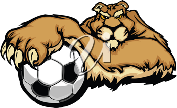 Royalty Free Clipart Image of a Cougar With a Soccer Ball